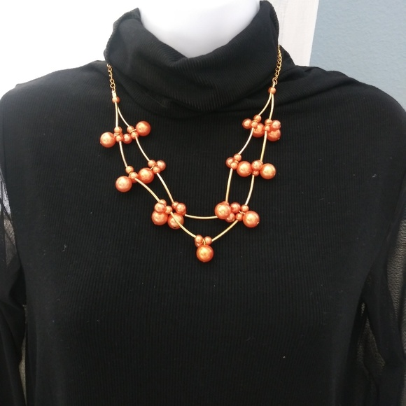 Paparazzi Jewelry Nwt Orange And Gold Pearl Necklace Earring Set